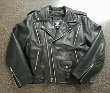 ALLSTATE Black Heavy Thick Leather Vented Classic Motorcycle Jacket Size 46