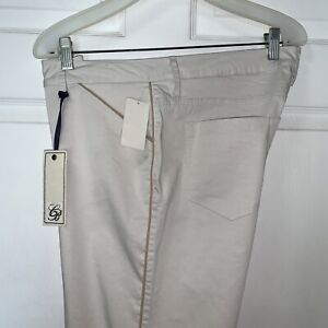 NWT Christopher Blue Isabel Pant Khaki Womens 12 Mid Rise Ankle Crop Skinny