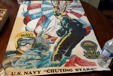 Vintage Original  NAVY POSTER Chuting Stars Parchute Team