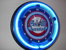 Columbia Bike Bicycle Store Advertising Blue Neon Wall Clock Sign