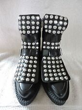 NEW $698 MARC by Marc Jacobs BOWERY CREEPER BLACK LACE UP STUD BOOTS 37 7