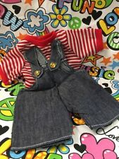 "Outfit for 12"" 13"" Bears or Dolls Fits Bitty Baby Summer Red Overalls & Shirt"