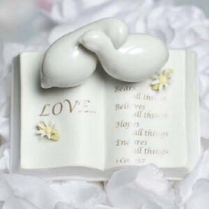 Love Verse Bible With Doves Wedding Cake Topper - Rose, Hydrangea, Daisy, Beach