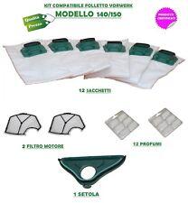 12 Sacchetti Folletto VK 140 VK 150 + 2 Griglie Motore + 12 Profumi + Spazzola