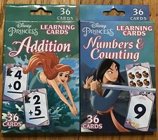 Disney Princess Learning Cards (Lot Of 2) Addition + Numbers & Counting NEW