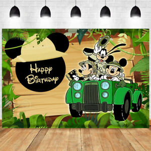 Mickey Mouse Safari Backdrop Boy Happy Birthday Party Background Decoration
