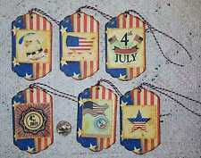 6~Vintage~4th Of July~Patriotic~Linen Cardstock~Gift~Hang~Tags