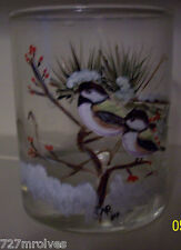 "Pair of Hand Painted Old Fashion Glasses ""Black Capped Finch """