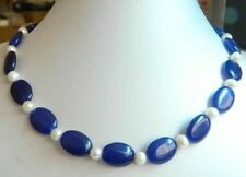 New Charming 13x18mm Blue Sapphire&White Pearl Necklace 18'' AAA