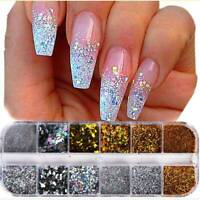 12 Colours Glitter Dust Powder Pots Set Nail Art Tips Decoration / Crafts / XMAS
