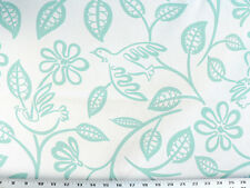 Drapery Upholstery Fabric Modern Printed Cotton Floral/Bird Design - Aquamarine