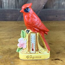 Vintage Chalkware Virginia Cardinal Thermometer