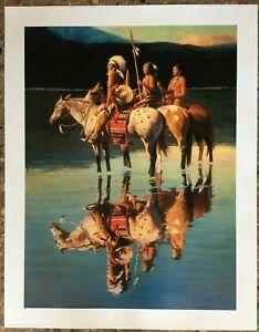 "Art Print / Peace On Blue Lake / David Mann / Signed Numbered Cert. / 25"" x 32"""