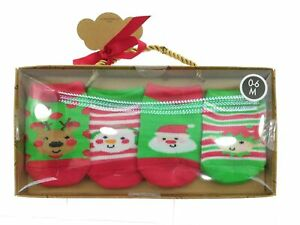 Baby Essentials Infant Christmas Sock Set 4 Pair Pack 0 - 6 Months