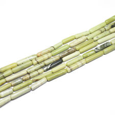 "5 Strand Natural Green Opal Smooth Tube Gemstone Beads Strand 13"" 10mm 17mm"