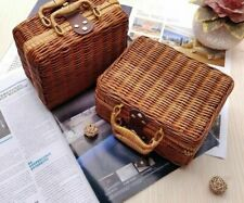 Bamboo Basket Travel Suitcase Rattan Cosmetic Food Box For Outdoor Storage Cases