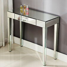 Vanity Mirrored Glass Dressing Table Console With 1 Drawer Bedroom Furniture