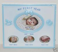 MY FIRST YEAR BABY PICTURE FRAME NEW BLUE BABY SHOWER GIFT NEWBORN FRAME CUTE