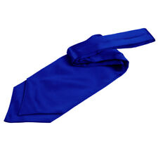 DQT Satin Plain Solid Royal Blue Wedding Self-Tie Cravat Free Pin