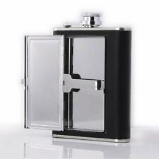 6oz Stainless Steel Hip Flask with Cigarette Case Leather Wrap Portable Black YM