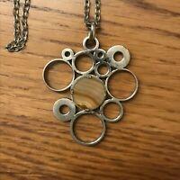 Collier travaillé ❤️ en métal avec pierres motifs ronds - Religieux