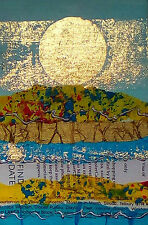 Yellow Fields - Mini acrylic painting with gold leaf and tissue paper