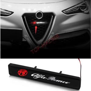 For Alfa Romeo 4C Giulia Stelvio ABS Front Bumper Grille Logo Led Light Bar