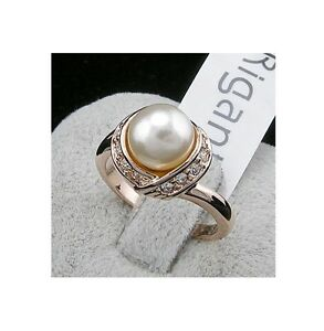 Luxus Damen Perle Ring Rose Gold 18K pl. Verlobungsring Weihnachtsgeschenk !!!