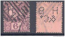 GB-PERFIN 1887 6d Jubilee, perf. H B & Co (D)