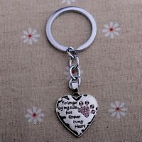 Pet Memorial Keyring Dog Cat No Longer By My Side Forever In My Heart PINK Gift