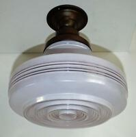 "Vintage 14"" Concentric Glass Shade Ceiling Light Fixture w/ Brass/Bronze Canopy"