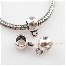 15Pcs Tibetan Silver Smooth Charms European Bail Beads Fit Bracelet 8x11mm