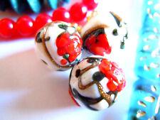 Edle kleine Peony Round Red Flowers Aventurin Murano-Perle on Porc.White-12mm-