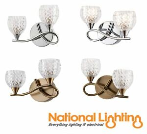 REAGEN Curved Twin Arm G9 Wall Lights - Antique Brass/Chrome - Glass Cut Shades