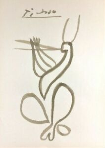 PABLO PICASSO HAND DRAWN AND SIGNED * FLUTE PLAYER * PASTEL SKETCH