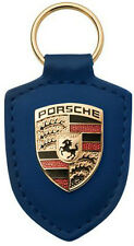 Genuine Porsche Red Coloured Crested Leather Keyring Key Ring X2