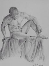 Male Nude Detailed Drawing Pencil On White Paper A4 Original Art