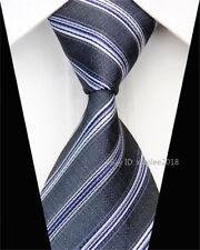 Mens Classic Silk Tie Wedding Slim Fashion Necktie Striped Skinny Grey Ties Men