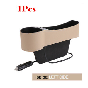 Car Main Driver's Seat Gap Storage Box Crevice Organizer Pocket 2 USB Cup Holder
