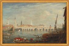 The Monument and London Bridge Frederick Nash England Themse Brücke B A2 01950