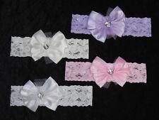 Haarband Stirnband Haarschmuck Baby Kopfband Schleife Glitzerstein weiß rosa cre