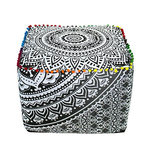 """18"""" Large Gray Indian Mandala Cotton Square Ottoman Pouf Cover Footstool Seating"""