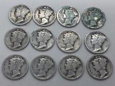 Set Of 12 1921 P Mercury US Dimes Key Date