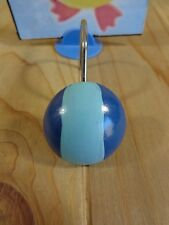 Shower Curtain Hooks Set of 12 TWO TONE BLUE BALLS Resin Stainless