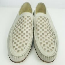 Vintage Grenson Mens Beige True Moccasin Checker Board Real Leather Shoes Uk 8.5