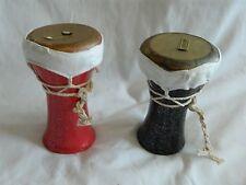 2 Mini Egyptian Cerámica Drum Tabla  Doumback Piel Cabra Negro Verde Marrón
