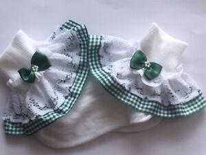 Handmade school green gingham girls frilly socks