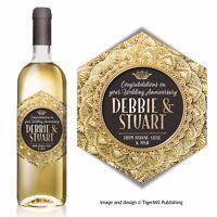PERSONALISED gold wine label Birthday Engagement Wedding Valentine Anniversary