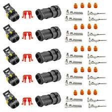 5 Kit 2 Pin Way Sealed Waterproof Electrical Wire Connector Plug Set US Stock