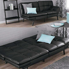 Leather-Futon-Couch-Sleeper-Sofa-Loveseat-Convertible-Sectional-Bed-Chair-Black